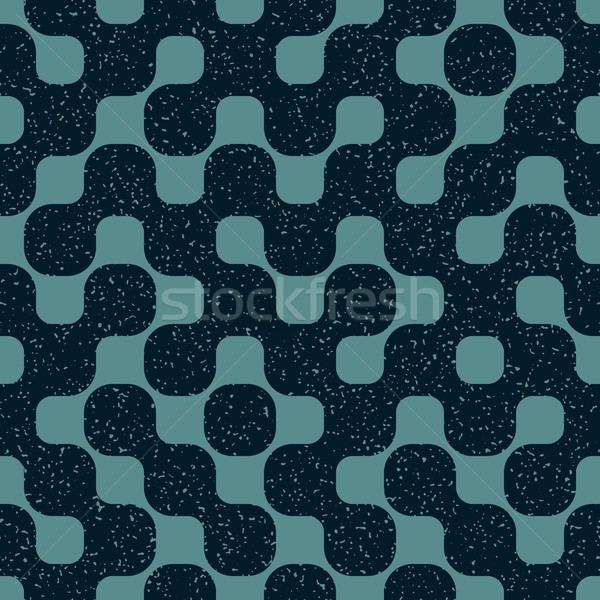Vector Seamless Rounded Shape Geometric Irregular Retro Grungy Blue Navy Pattern Stock photo © Samolevsky
