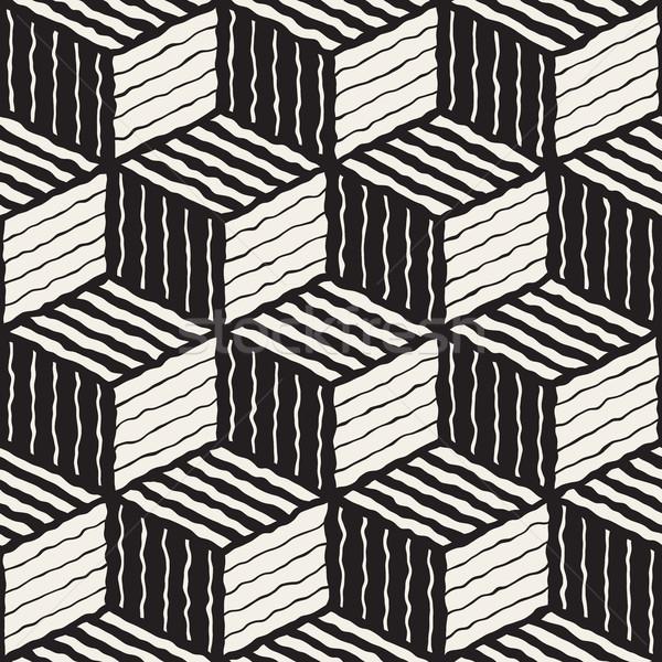 Vector Seamless Hand Painted Line Geometric Stripes Shaded Cube Pattern Stock photo © Samolevsky