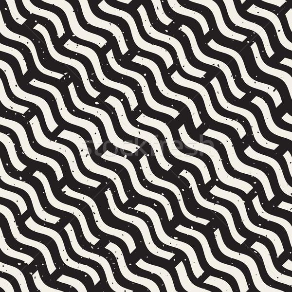 Vector Seamless Hand Drawn Daigonal Wavy Lines Grunge Pattern Stock photo © Samolevsky
