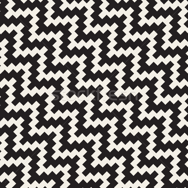 Vector Seamless Black and White Diagonal ZigZag Jagged Pattern Stock photo © Samolevsky