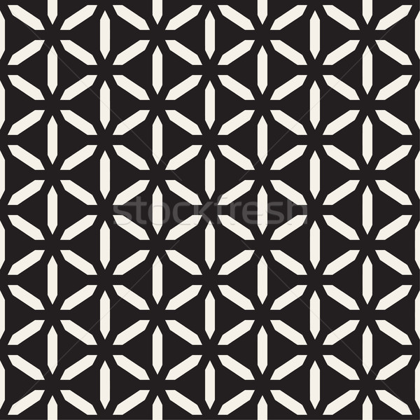 Cubic Grid Tiling Endless Stylish Texture. Vector Seamless Black and White Pattern Stock photo © Samolevsky
