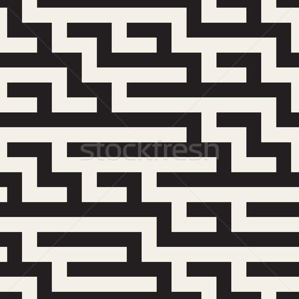 Vektör siyah beyaz geometrik labirent hatları Stok fotoğraf © Samolevsky
