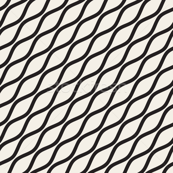 Vector Seamless Black and White Wavy Diagonal Lines Pattern Stock photo © Samolevsky
