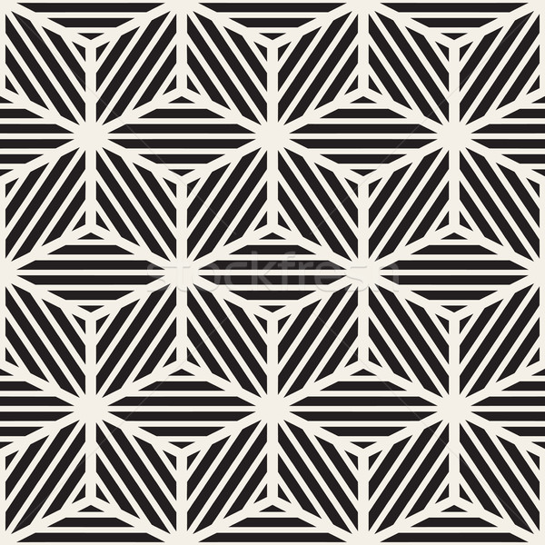 Vettore senza soluzione di continuità bianco nero cubo linee griglia Foto d'archivio © Samolevsky