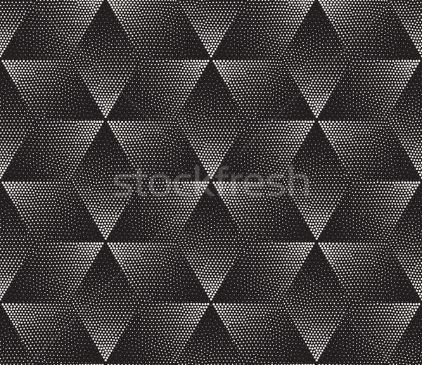 Vector Seamless Black and White Stippling Halftone Gradient Rhombus Pattern Stock photo © Samolevsky
