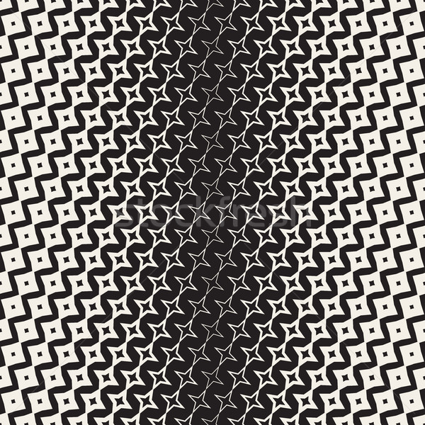 Star Line Shape Halftone Transition. Vector Seamless Black and White Pattern. Stock photo © Samolevsky
