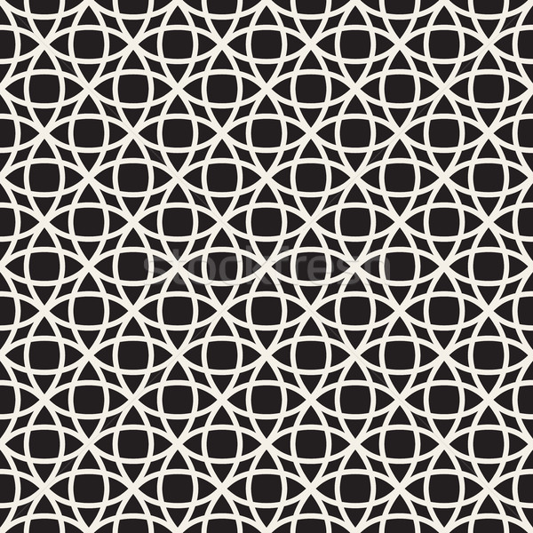 Circle Overlapping Line Lattice. Vector Seamless Black and White Pattern. Stock photo © Samolevsky