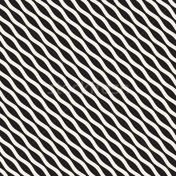 Wavy Ripple Lines. Vector Seamless Black and White Pattern. Stock photo © Samolevsky