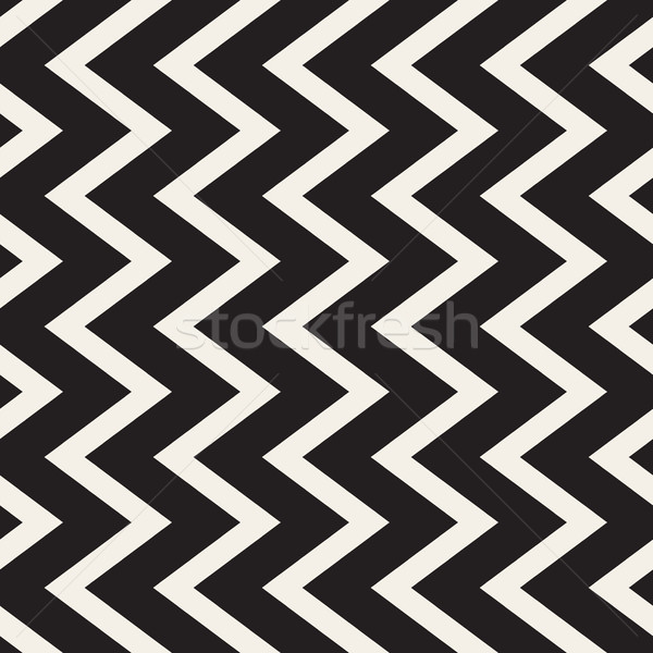 Vector Seamless Black and White Vertical ZigZag Lines Geometric Pattern Stock photo © Samolevsky