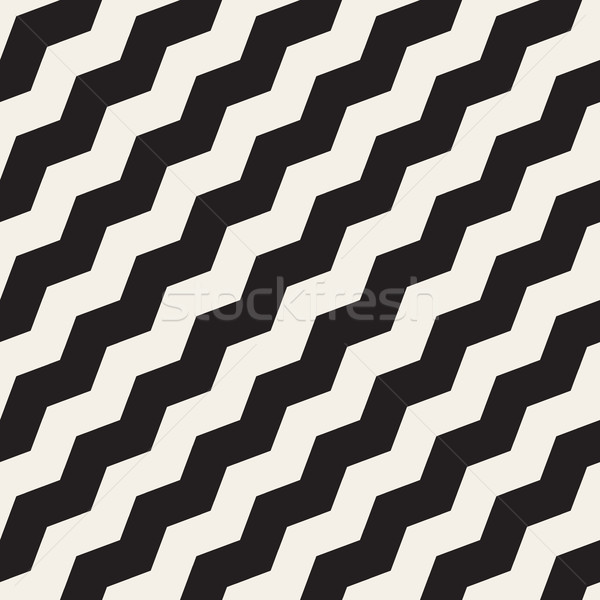Vector Seamless Black and White ZigZag Diagonal Lines Geometric Pattern Stock photo © Samolevsky