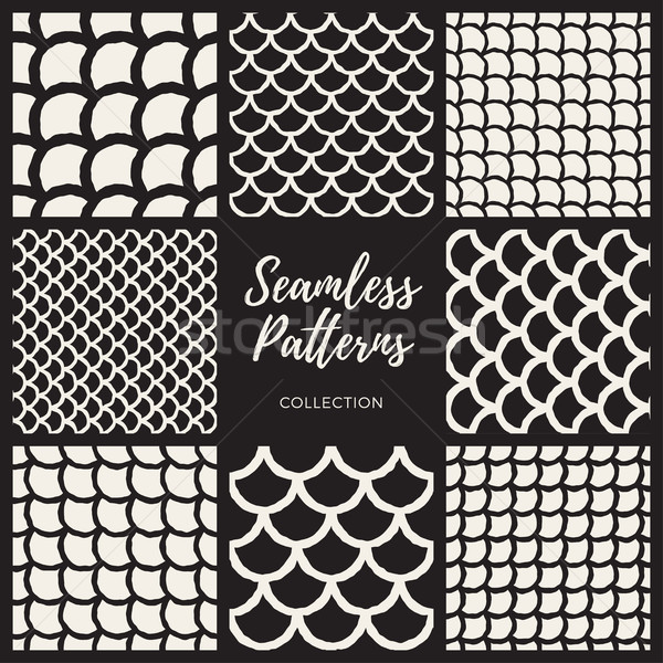 Vector Seamless Hand Drawn Rounded Lines Oriental Pattern Collection Stock photo © Samolevsky