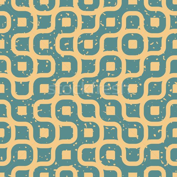 Vector Seamless Wavy Lines Irregular Retro Grungy Blue Tan Pattern Stock photo © Samolevsky