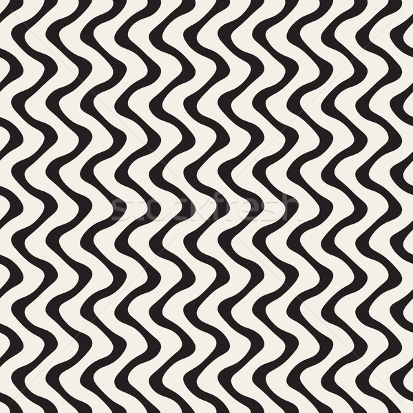 Wavy Lines Pattern. Vector Seamless Black and White . Stock photo © Samolevsky