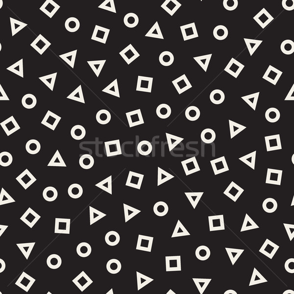 Scattered Geometric Line Shapes. Vector Seamless Black and White Pattern. Stock photo © Samolevsky