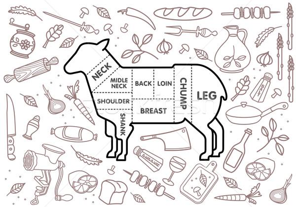 Rundvlees varkensvlees lam kip groenten afbeelding Stockfoto © samorodinov