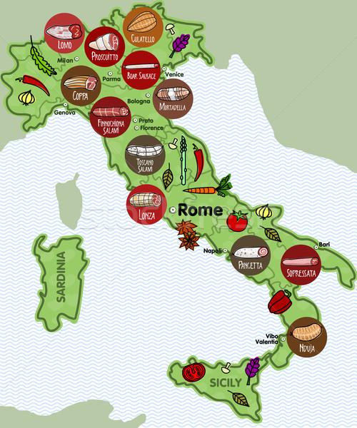 İtalyan sosis ünlü sosis farklı bölgeler Stok fotoğraf © samorodinov