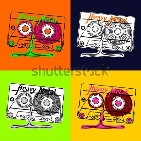 Cassette tshirt heavy metal lineair vector graphics Stockfoto © samorodinov