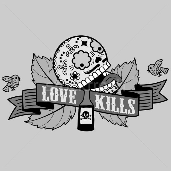 ストックフォト: 愛 · Tシャツ · スケルトン · 自殺 · 酔っ · 絶望