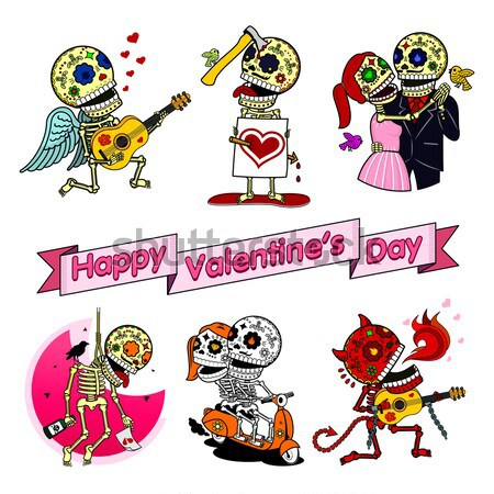 Funny skeletons. Love Kills.cdr Stock photo © samorodinov