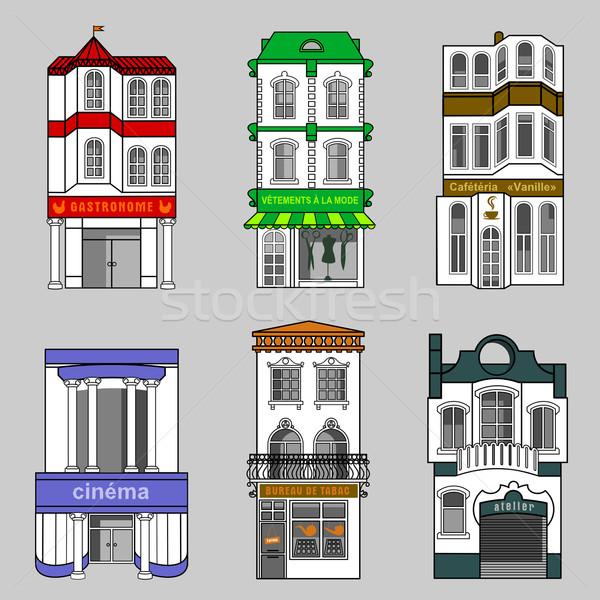 ストックフォト: 住宅 · 店 · レストラン · 古い · フランス語 · 町
