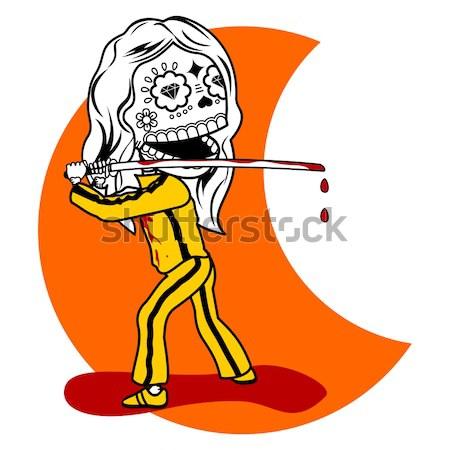 Tshirt pani dziewczyna żółty dres krwawy Zdjęcia stock © samorodinov