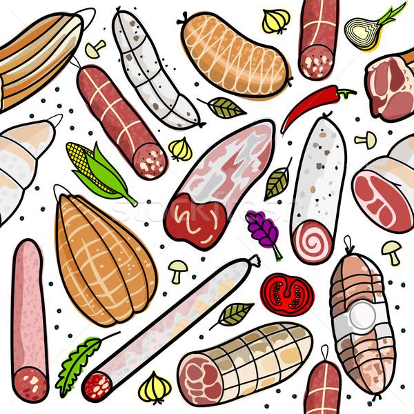 Italiano salsicha famoso salsichas diferente regiões Foto stock © samorodinov