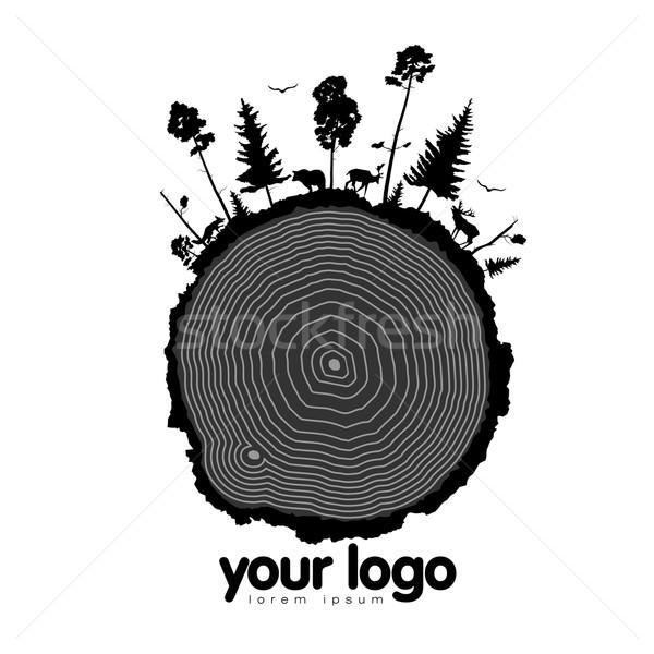 ストックフォト: カット · ツリー · リング · 樹皮 · 木 · 森林