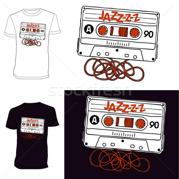 ストックフォト: カセット · Tシャツ · リニア · ベクトル · グラフィックス · オーディオ