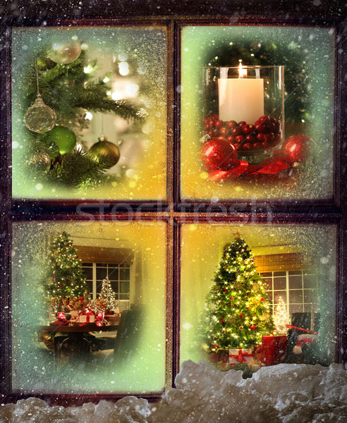 Vignettes of Christmas scenes seen through a wooden window  Stock photo © Sandralise