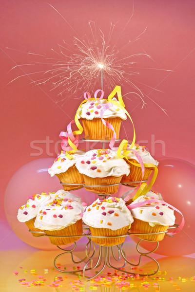 Minitorták csillagszóró felső rózsaszín étel boldog Stock fotó © Sandralise