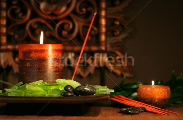 ámbar velas sereno zen flor Foto stock © Sandralise