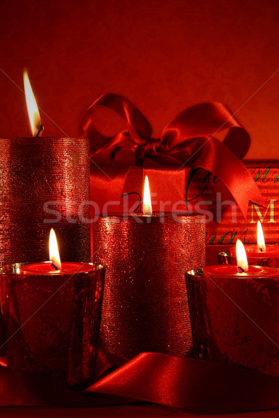 Сток-фото: Рождества · свечей · Vintage · красный · свечу · мяча