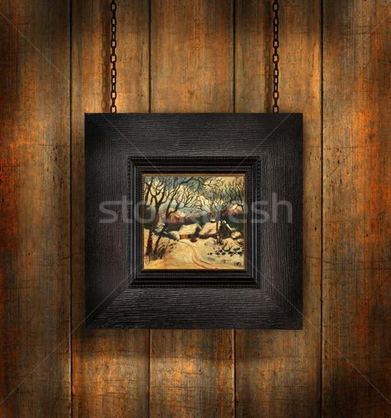 Sötét fa keret gyötrelem papír textúra Stock fotó © Sandralise