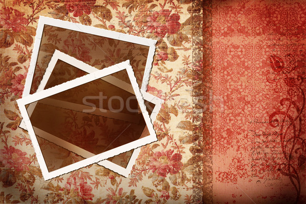 Old photos on antique floral background  Stock photo © Sandralise