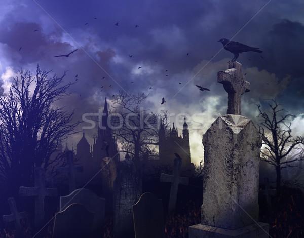 ストックフォト: 夜景 · 墓地 · ハロウィン · デザイン · クロス