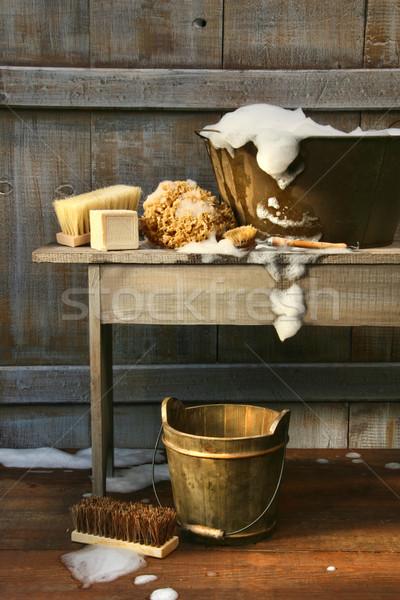 Eski yıkamak küvet sabun ev Stok fotoğraf © Sandralise