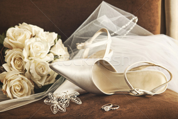 Wedding shoes with bouquet of white roses and ring  Stock photo © Sandralise