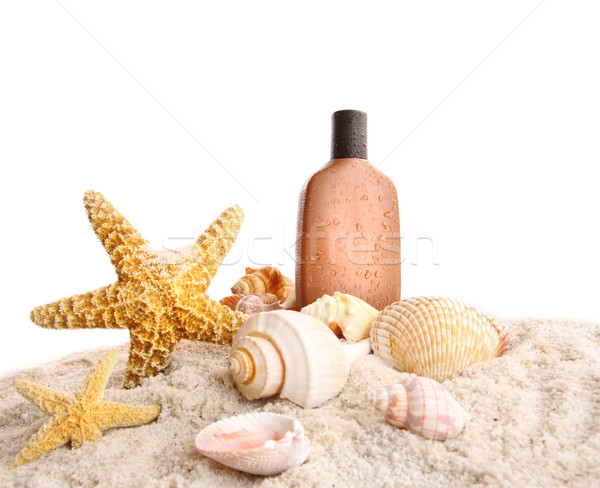 Bronzage lotion blanche plage fond Photo stock © Sandralise