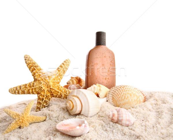 загар лосьон ракушки белый пляж фон Сток-фото © Sandralise