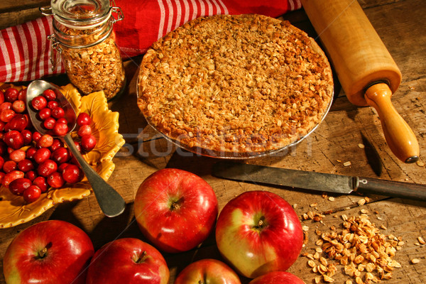Crumble pie with apples and cranberries Stock photo © Sandralise