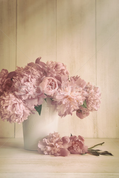 Peony flowers in vase with vintage colors Stock photo © Sandralise