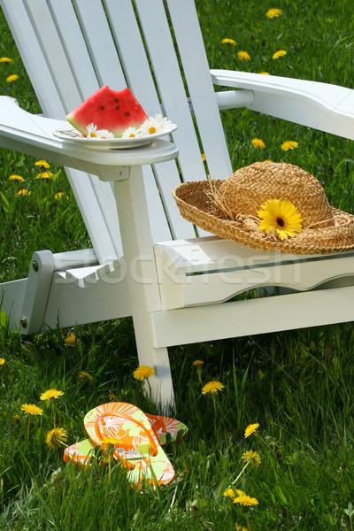 Closeup of slice of watermelon on adirondack chair Stock photo © Sandralise