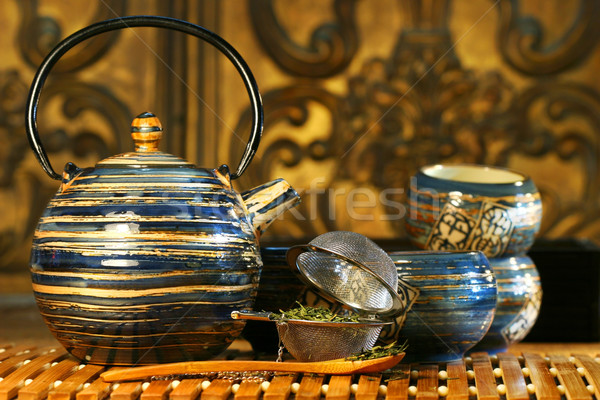 Blue oriental teapot with cups  Stock photo © Sandralise