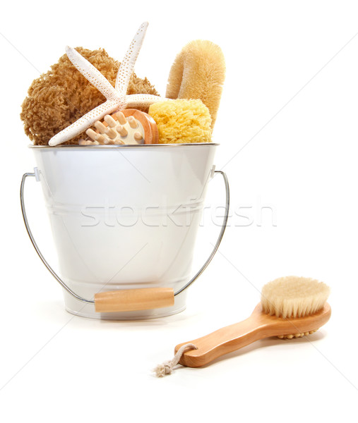 White bucket filled with sponges and scrub brushes  Stock photo © Sandralise