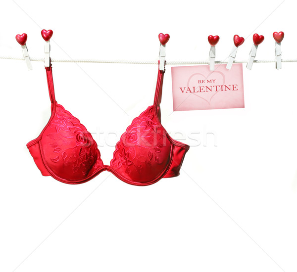 Fancy red bra hanging on clothesline  Stock photo © Sandralise