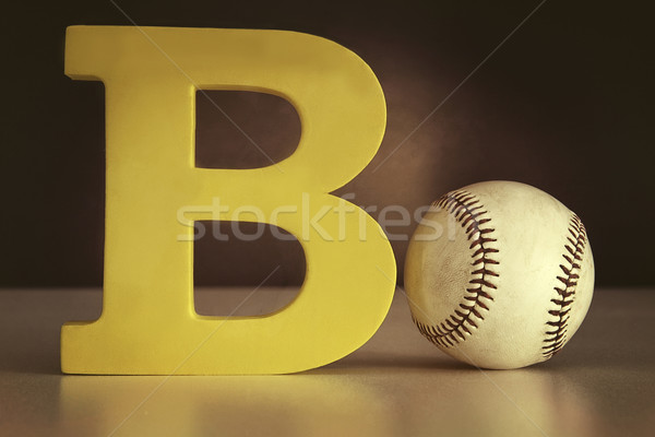 The letter B with a basecball on table Stock photo © Sandralise