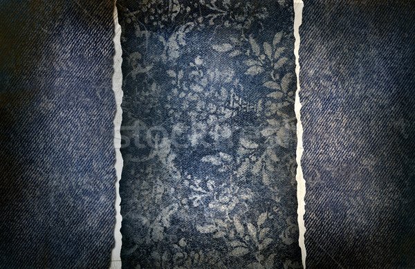 Grungy denim with faded floral effect Stock photo © Sandralise