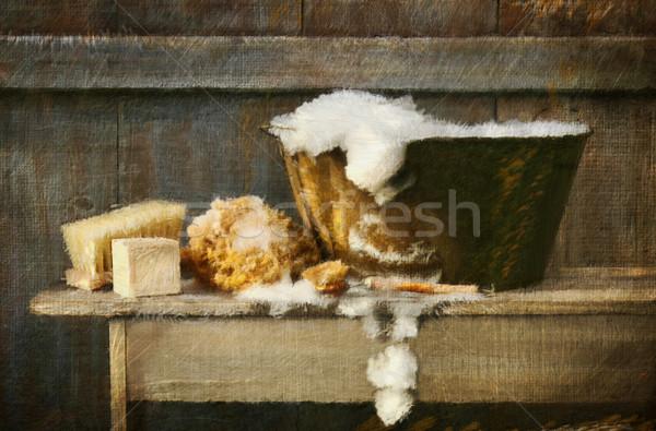 デジタル 絵画 古い 洗浄 たらい ベンチ ストックフォト © Sandralise