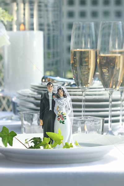 Close-up of figurine couple on dinner plate at reception Stock photo © Sandralise