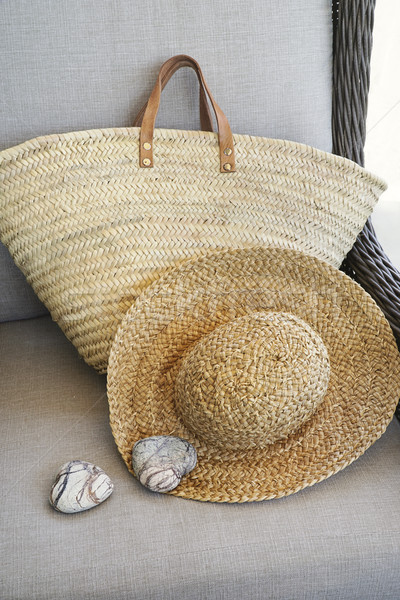 соломенной шляпе кошелька Председатель древесины дизайна Сток-фото © Sandralise